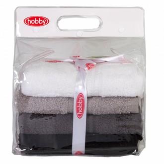 Набор полотенец для ванной в подарочной упаковке 4 шт. Hobby Home Collection RAINBOW хлопковая махра (чёрный)