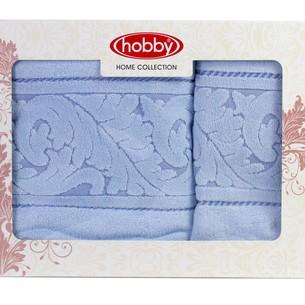 Набор полотенец для ванной в подарочной упаковке 50х90, 70х140 Hobby Home Collection SULTAN хлопковая махра голубой