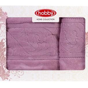 Набор полотенец для ванной в подарочной упаковке 50х90, 70х140 Hobby Home Collection SULTAN хлопковая махра тёмно-розовый