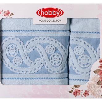 Подарочный набор полотенец для ванной 50х90, 70х140 Hobby Home Collection HURREM хлопковая махра голубой