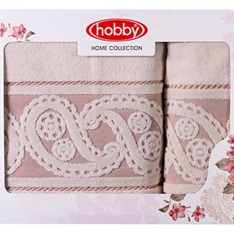 Подарочный набор полотенец для ванной 50*90, 70*140 Hobby Home Collection HURREM хлопковая махра кремовый