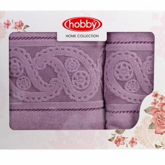 Подарочный набор полотенец для ванной 50х90, 70х140 Hobby Home Collection HURREM хлопковая махра лиловый