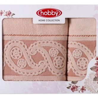Подарочный набор полотенец для ванной 50х90, 70х140 Hobby Home Collection HURREM хлопковая махра персиковый