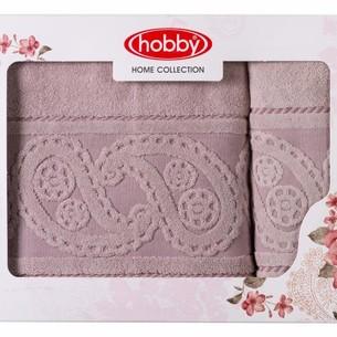 Подарочный набор полотенец для ванной 50х90, 70х140 Hobby Home Collection HURREM хлопковая махра розовый