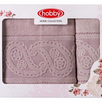 Подарочный набор полотенец для ванной 50*90, 70*140 Hobby Home Collection HURREM хлопковая махра (розовый)