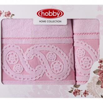 Подарочный набор полотенец для ванной 50х90, 70х140 Hobby Home Collection HURREM хлопковая махра светло-розовый