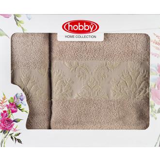 Подарочный набор полотенец для ванной 50*90, 70*140 Hobby Home Collection RUZANNA хлопковая махра (бежевый)