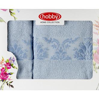 Подарочный набор полотенец для ванной 50*90, 70*140 Hobby Home Collection RUZANNA хлопковая махра (голубой)
