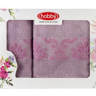 Подарочный набор полотенец для ванной 50х90, 70х140 Hobby Home Collection RUZANNA хлопковая махра лиловый