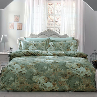 Комплект постельного белья Tivolyo Home QUEEN сатин, жатый шёлк (зелёный)