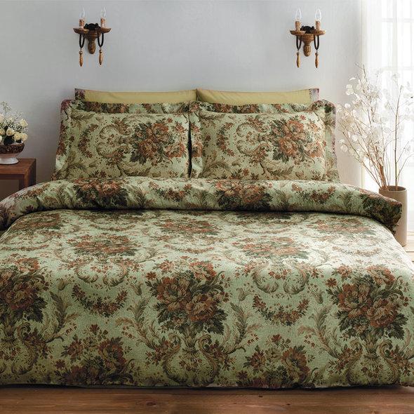 Комплект постельного белья Tivolyo Home ROYAL сатин, жатый шёлк (зелёный) евро, фото, фотография
