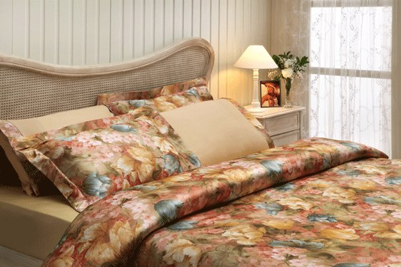 Комплект постельного белья Tivolyo Home FLOWER LAND сатин, жатый шёлк (жёлтый) евро, фото, фотография