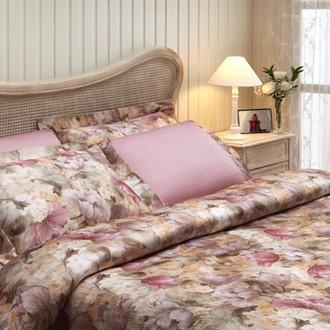 Комплект постельного белья Tivolyo Home FLOWER LAND сатин, жатый шёлк (лиловый)