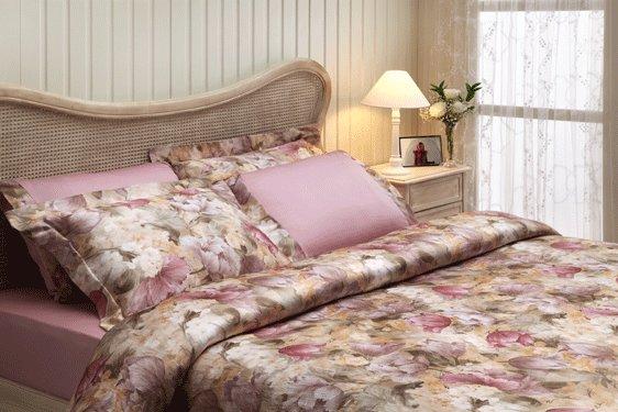 Комплект постельного белья Tivolyo Home FLOWER LAND сатин, жатый шёлк (лиловый) семейный, фото, фотография