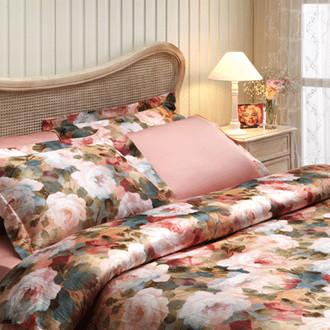 Комплект постельного белья Tivolyo Home MIXROSSE сатин, жатый шёлк (тёмно-розовый)