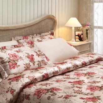 Комплект постельного белья Tivolyo Home VICTORIA сатин, жатый шёлк (бежевый)
