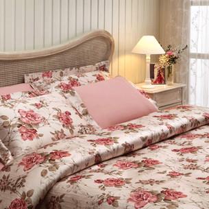 Постельное белье Tivolyo Home VICTORIA сатин, жатый шёлк тёмно-розовый семейный