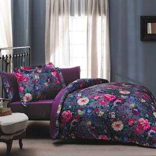 Постельное белье Tivolyo Home PIZZO сатин, жатый шёлк фиолетовый 1,5 спальный