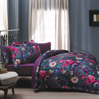 Комплект постельного белья Tivolyo Home PIZZO сатин, жатый шёлк (фиолетовый)