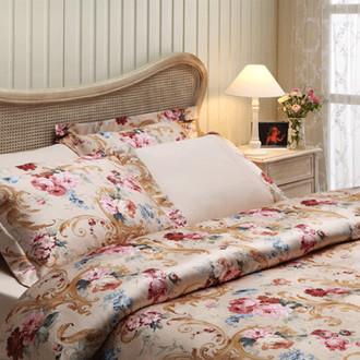 Комплект постельного белья Tivolyo Home CLASSIC ROSSE сатин, жатый шёлк (кремовый)