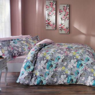 Комплект постельного белья Tivolyo Home GRETA сатин, жатый шёлк (розовый)