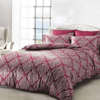 Комплект постельного белья Tivolyo Home SCILIA сатин, жатый шёлк (бордовый)