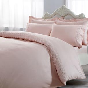 Постельное белье Tivolyo Home MINERVA хлопковый люкс-сатин розовый евро