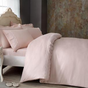 Постельное белье Tivolyo Home OLIVIA хлопковый люкс-сатин розовый семейный