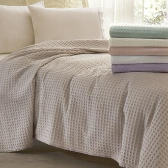 Комплект постельного белья с вафельной простынью-покрывалом для укрывания Tivolyo Home MODESTO (кремовый)