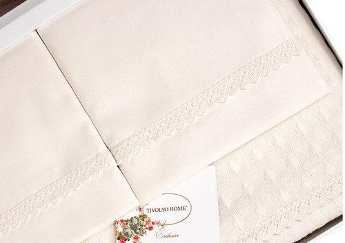 Постельное белье с вафельной простынью-покрывалом для укрывания Tivolyo Home MODESTO кремовый евро, фото, фотография