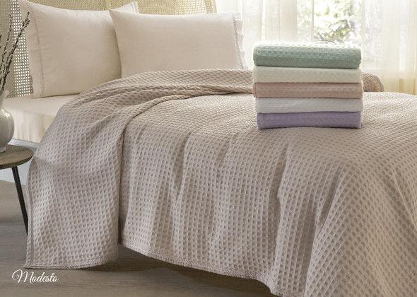 Комплект постельного белья с вафельной простынью-покрывалом для укрывания Tivolyo Home MODESTO (лиловый) евро, фото, фотография