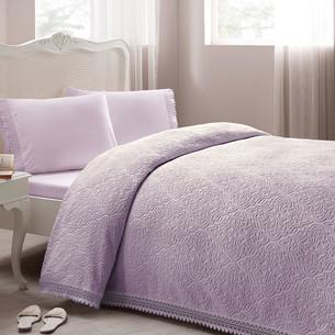 Постельное белье с махровой простынью-покрывалом для укрывания Tivolyo Home LA PERLA лиловый евро