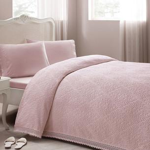 Постельное белье с махровой простынью-покрывалом для укрывания Tivolyo Home LA PERLA розовый евро
