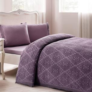Постельное белье с махровой простынью-покрывалом для укрывания Tivolyo Home LA PERLA фиолетовый евро