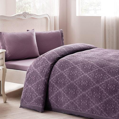 Постельное белье с махровой простынью-покрывалом для укрывания Tivolyo Home LA PERLA фиолетовый евро, фото, фотография