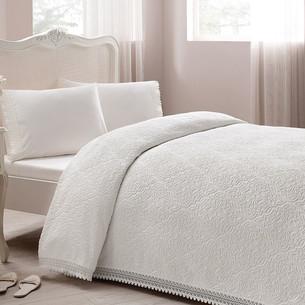 Постельное белье с махровой простынью-покрывалом для укрывания Tivolyo Home LA PERLA кремовый евро