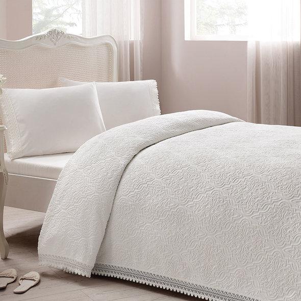Постельное белье с махровой простынью-покрывалом для укрывания Tivolyo Home LA PERLA (кремовый) евро, фото, фотография