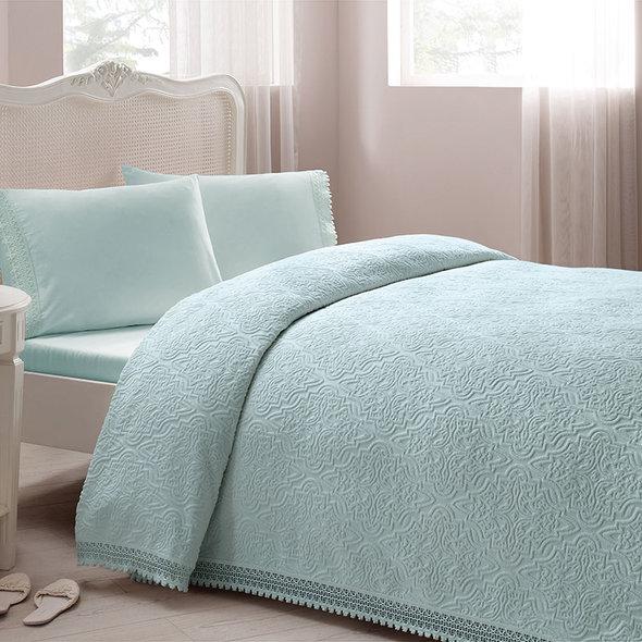 Комплект постельного белья с махровой простынью-покрывалом для укрывания Tivolyo Home LA PERLA (бирюзовый) евро, фото, фотография
