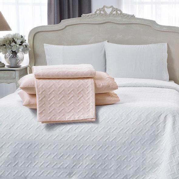 Комплект постельного белья с простынью-покрывалом для укрывания (пике) Tivolyo Home GEO (экрю) евро, фото, фотография