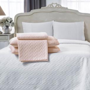 Постельное белье с простынью-покрывалом для укрывания пике Tivolyo Home GEO розовый евро