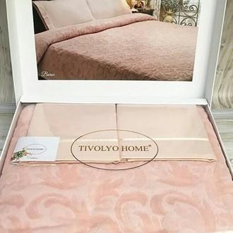 Махровая простынь-покрывало для укрывания Tivolyo Home BAROC хлопок (персиковый)