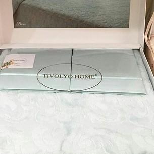 Махровая простынь-покрывало для укрывания Tivolyo Home BAROC хлопок светло-зелёный 160х220