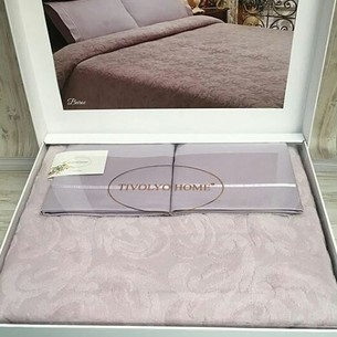 Махровая простынь-покрывало для укрывания Tivolyo Home BAROC хлопок лиловый 160х220
