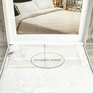 Махровая простынь-покрывало для укрывания Tivolyo Home BAROC хлопок кремовый 160х220