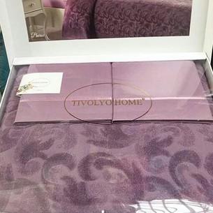 Махровая простынь-покрывало для укрывания Tivolyo Home BAROC хлопок фиолетовый 160х220