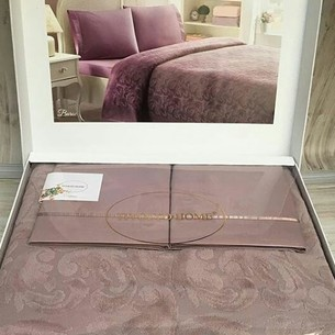 Постельное белье с махровой простынью-покрывалом Tivolyo Home BAROC хлопок коричневый евро