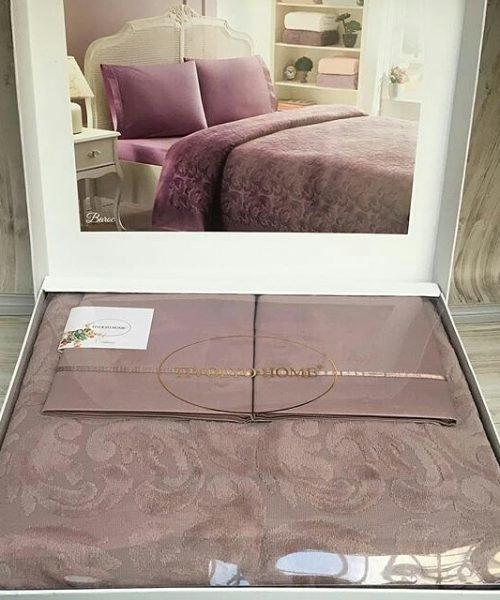 Постельное белье с махровой простынью-покрывалом Tivolyo Home BAROC хлопок (коричневый) евро, фото, фотография