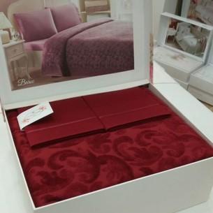 Постельное белье с махровой простынью-покрывалом Tivolyo Home BAROC хлопок бордовый евро