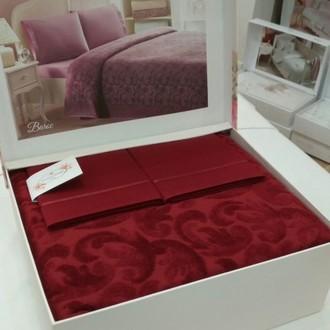 Постельное белье с махровой простынью-покрывалом Tivolyo Home BAROC хлопок бордовый