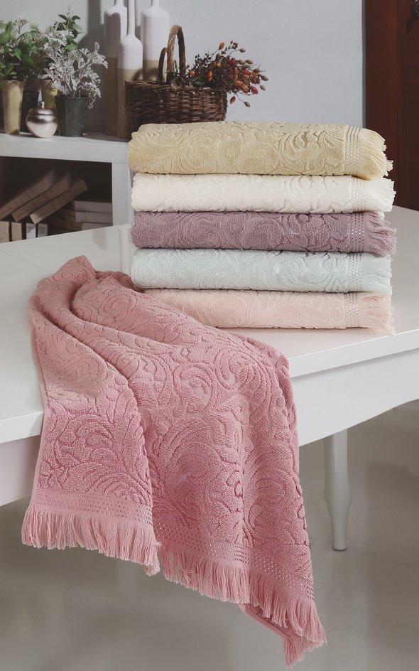 Полотенце для ванной Karna ESRA хлопковая махра абрикосовый 50*90, фото, фотография